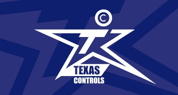 texas controls product logo in blue and white